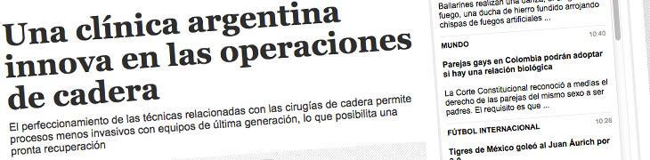 Una clínica argentina innova en las operaciones de cadera (réplica diario El Deber)